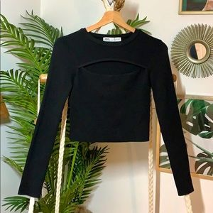 ZARA Black long sleeve CROP TOP Front CUT OUT